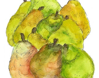 Bartlett Pears/Greeting Card/Blank/Note Card/Recycled Paper/Watercolor/Ink/Local