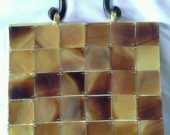 Vintage Blonde Tortoise Shell Lucite Handbag