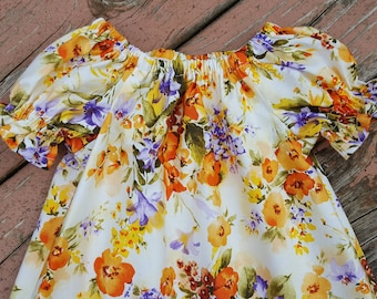 Girl's Infants Toddlers Yellow and Purple Floral Peasant Dress