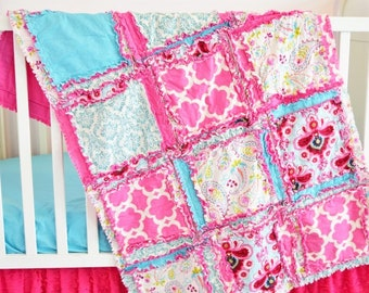Paisley Baby Girl Crib Set - Turquoise | Hot Pink - Includes Quilt, Sheet, and Ruffle Crib Skirt