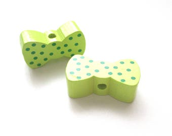 Bow - lime green polka dots green wooden bead