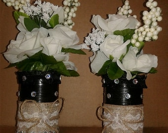 artisan up cycled centerpiece flowers