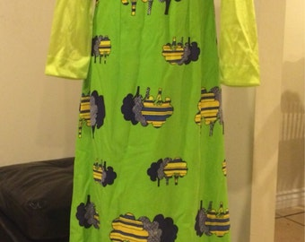 Vintage 1960's Green Neon Trees Dress