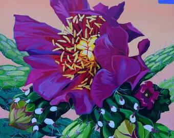 Cactus Flower original acrylic painting on canvas