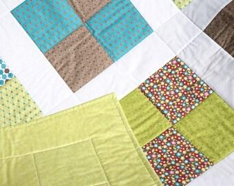 """Sale Baby Boy Quilt - Modern Baby Quilt - Blue Baby Blanket - Green Baby Quilt - Girl Crib Quilt - Baby Boy Blanket - Baby Bedding 38"""" x 38"""""""