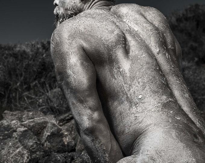 Specimen - 18x24 nude male model fine art black and white photograph.