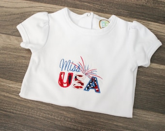 Miss USA Baby Outfit - Miss USA Onesie - USA baby Bodysuit - 4th Of July Girls outfit - Patriotic Baby Outfit - Patriotic Onesie