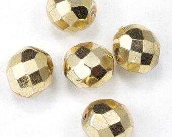 10mm Metallic Gold Fire Polished Bead (12 Pcs)  #GBG011