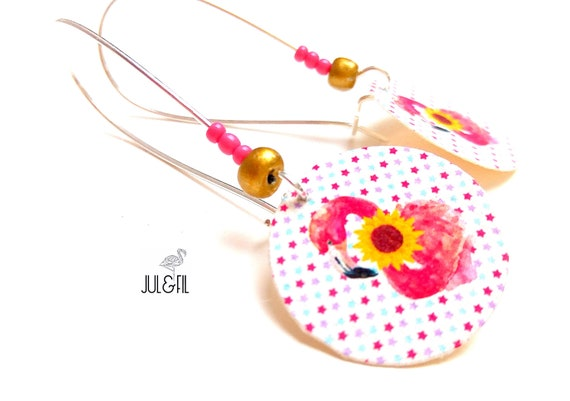 Flamingo earrings pink sunflower, organic star on cotton canvas background