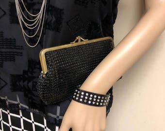 Bags by Marlo Vintage Black Sequin Clutch Purse