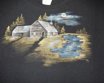 Moonlit Cabin on Ladies Black T-Shirt