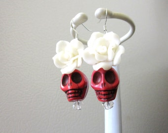 Sugar Skull Earrings Day Of The Dead Jewelry Red White Rose Flower