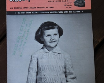 Double Breasted Cardigan Mary Maxim C27 Knitting Pattern Girls Jacket Cardigan Pattern - Vintage 60s Pattern Kids Jacket Sweater Pattern