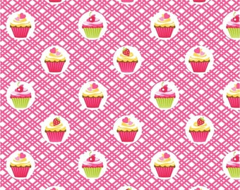 Decorated Cupcakes in Pink from the Cupcake Cafe Collection by Laura Stone for Studio e Fabrics