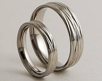 Wedding Bands, Titanium Rings, Titanium Wedding Ring Set, Titanium Wedding Band Set, Promise Rings, The Sphinx Bands with Comfort Fit