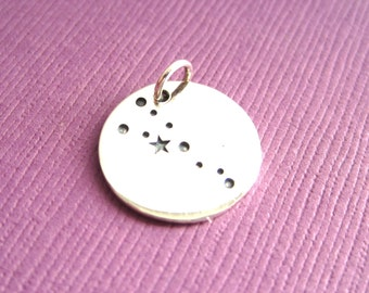 Sterling Silver Stamped Taurus Constellation Zodiac Sign Pendant  Charm
