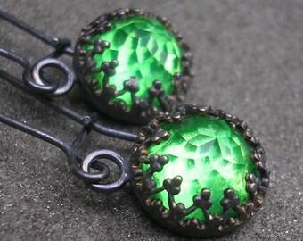 Green Topaz Sterling Silver Earrings - Filigree Long Dangles - Emerald Green Stone Earrings - Fancy Bezel - Rose Cut Topaz - Green Earrings