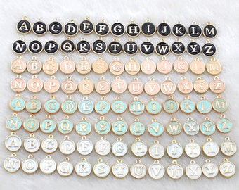 Wholesale-Black letter charms, Color Oil Drop Metal letters, Intial Disc, Round charm Enamel Charms-Double letters-G1869