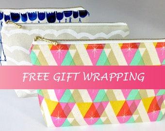 Cosmetic pouch, make up bag, zipper pouch, travel pouch, coin purse, zipper wallet, pencil case, japanese fabric, cotton