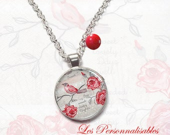 NECKLACE Red Bird on branch of roses.  under glass dome. .