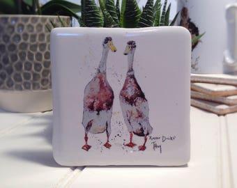 Coaster, Runner Ducks, Animal Coaster, Ceramic, Tile coaster, Duck, hand made, Decor, Interior Kitchen, Animals, British Wildlife, Country