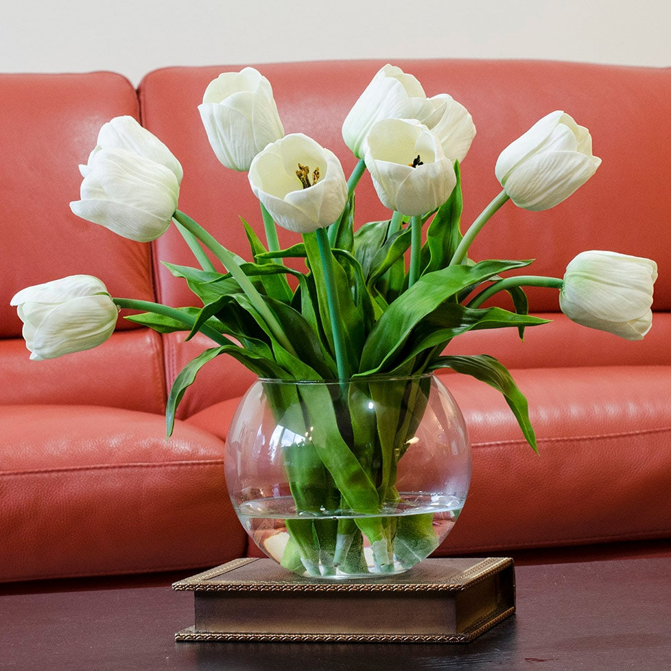Large real touch tulip arrangement with ivory tulip flowers zoom reviewsmspy