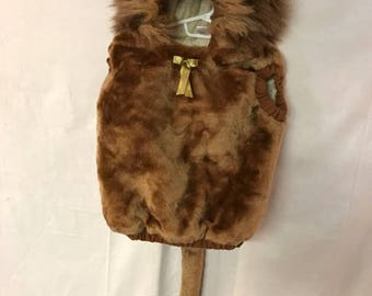 Halloween Lion Costume  24 Months Plush Faux Fur Hooded Pullover Lion Costume Furry Tail