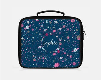 Personalized Lunch Box, Lunch Box for Kids, Space Lunch Box, Galaxy Lunch Box, Cute Lunch Box, Monogram Lunchboxes, Blue Lunch Box,