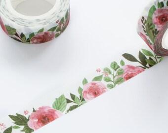 Red Camellia Floral Washi Tape 15mm/ Tea Rose Washi Tape/ Red Rose Washi Tape/ Pink Floral Washi Tape/ Spring Summer Washi Tape