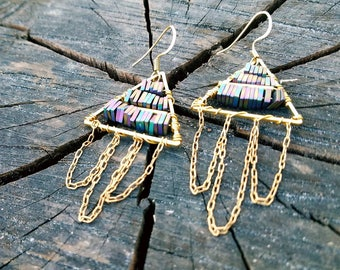 Modern Muse- Prismatic Beaded, Brass Triangle Earings