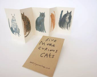 Mini cat zine concertina book    Five MORE Curious Cats