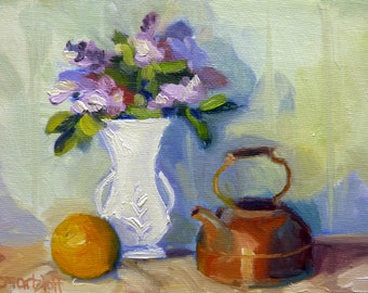 Small Still Life Oil Painting on Canvas Lilacs in White Vase