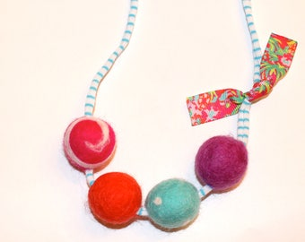 Poppy Flamingo Felted Wool Ball Necklace