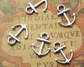 25pcs Anchor charms Silver tone Anchor Charm Pendants 15x18mm ASD1134