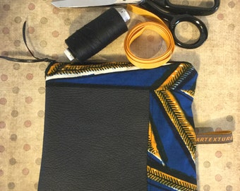 Cosmetic bimaterial black leather and wax yellow and blue, gift for her, makeup pouch, makeup