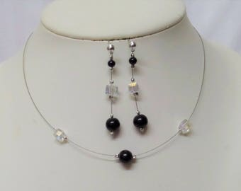 Set 2 pieces wedding necklace bridesmaid and glossy black beads and SARS AB crystal earrings
