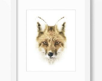 Fox Print, Fox Art, Fox Wall Art, Geometric Fox Print, Wall Print, Polygonal Fox Print, Fox Face, Geometric Fox, Fox Wall Print, Real Fox