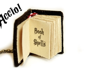 Spell Book, Mini book necklace, mini book pendant, Miniature book necklace, mini leather book, wizard, bibliophile, bookworm, graduation