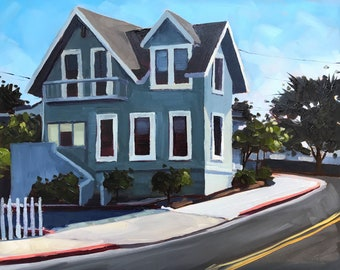 Monterey California Oil Painting -  8x10 - Cityscape painting by Sharon Schock