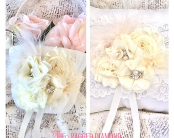 Flower girl basket pearl, pearl flower girl basket and ring bearer pillow, flower girl basket lace, lace pillow and basket, lace ring pillow