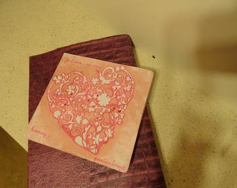 Card message of love pink heart