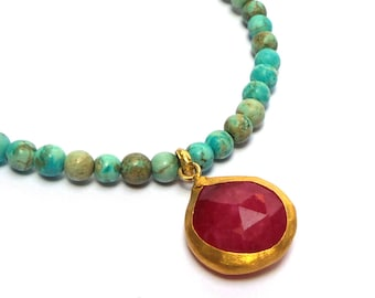 Ruby Pendant - Gold Pendant - 24 K Gold Pendant - Gold Necklace - Howlite Necklace - Free Shipping!!!