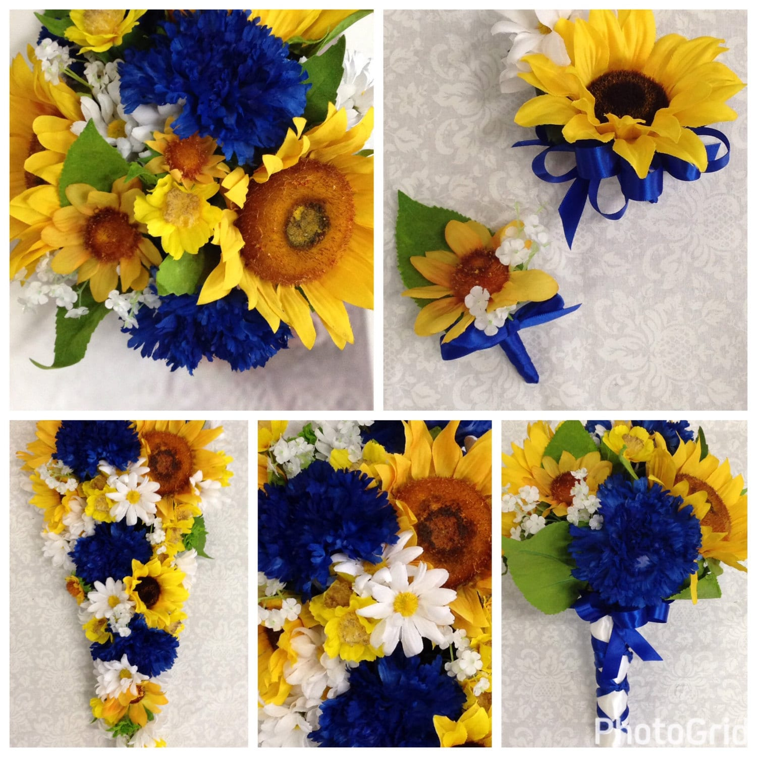 Artificial horizon blue sunflower wedding bouquet set sunflower artificial horizon blue sunflower wedding bouquet set sunflower country wedding flowers junglespirit Images