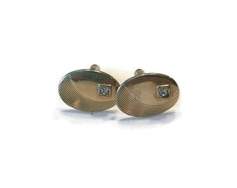Vintage Cuff Links, Gold Tone Cuff Links with Rhinestones, Men's Jewelry, Men's Accessories