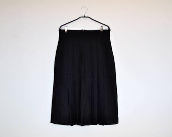 Vintage Grey Wool Midi Pleated Preppy Skirt