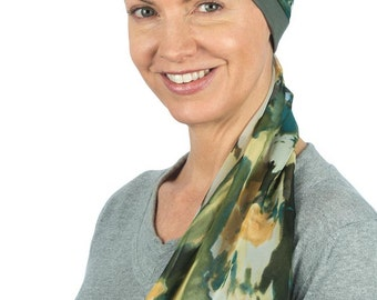 Isla - Jersey Cotton Hat with Chiffon Scarf for Cancer, Chemo and Hair Loss