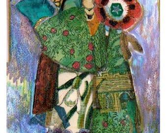 "Original painting, collage, ""Sorceress"""