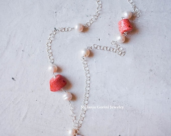 SEYCHELLES Necklace-925 sterling silver and authentic shell cameo with woman and seahorse - sponge coral beads and natural baroque pearls