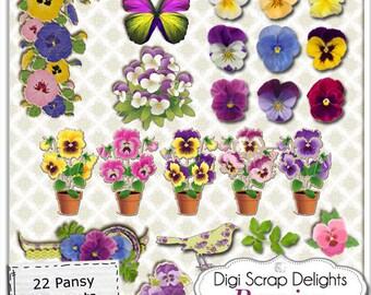 Vintage Pansies: Purple Flower Clip Art  Elements Digital Scrapbooking, Card Making, Crafts, etc., Instant Download