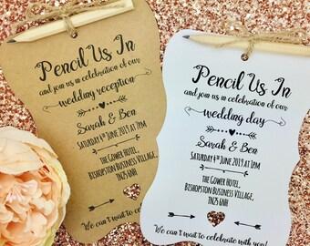 Pencil Us In Rustic Wedding Invitation, Vintage Wedding Invitation, We Do